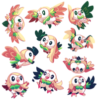 20 Rowlets commission (1/2) by MarlonLeal