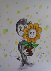 Bendy and Flowey by westhemime