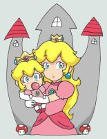 Baby Peach with Princess Peach by sarcastic-fangirl