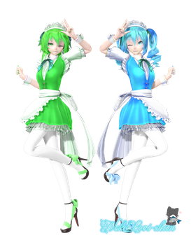 [X-mas + 30 watcher gift] TDA Maid Gumi and Miku by NekoLovi-chan
