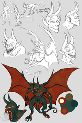 DnD - Pet'r the Gargoyle Sketches by Harseik
