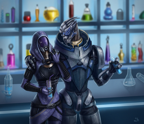 Garrus and Tali by Shade-of-Stars