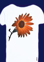 -sunflower on wh. t-shirt- by Gold-Angel