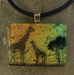 Giraffe Sunset Fused Glass by FusedElegance