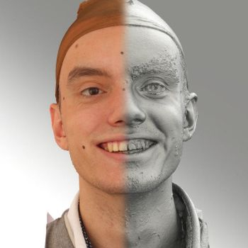 3D head scan of smiling emotion - Lukas by 3DskPhotoReference