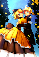 Riliane y Allen (Kagamine Rin and Len ) by Marinau