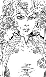 Rogue Portrait from XMEN Animated LINEART by armaron