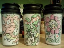 11oz traveler cups by GreenUnicornArt