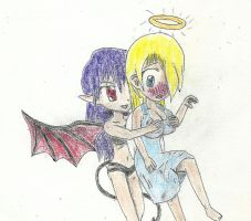 angel and succubus by JofDragon
