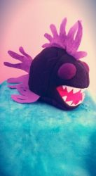 Plush Chompy Fish black/purple by ami-nomiko