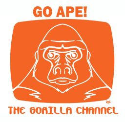 GO APE! with Gorilla Channel!  t-shirt design by Artraccoon