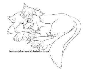 Resting Wolves Lineart by MissE11aneous
