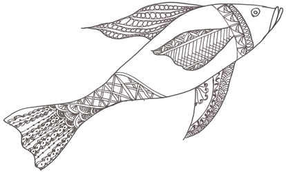 Doodle Fish Line Art by shaybee