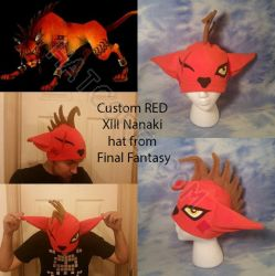 RED XIII Fleece Hat Final Fantasy Nanaki by HatcoreHats