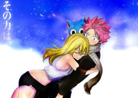Fairy Tail Ending Colors Manga Lucy Natsu Hug Love by Amanomoon