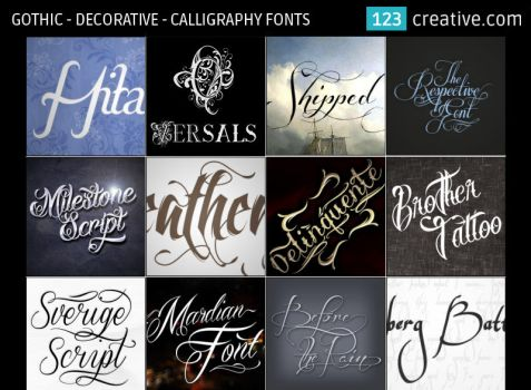 Gothic Decorative Calligraphy Fonts by 123creative