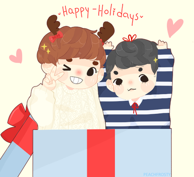 Happy Holidays from Chanbaek [+ speedpaint ] by Sunnydea