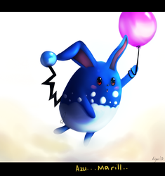 Azumarill floats away by glitchyfoxes