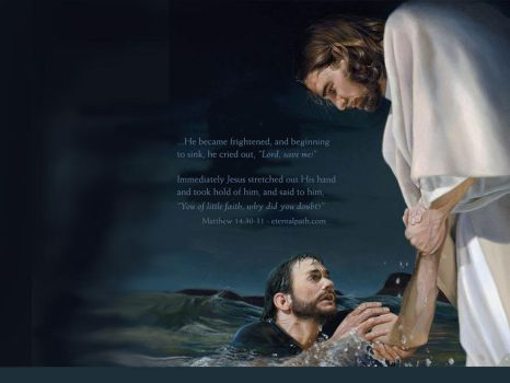 Jesus saves Peter. by Jesuschristforever