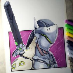 Genji Shimada from Overwatch - Copic Drawing by LethalChris