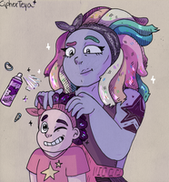 bismuth doing stevens hair by CipherTeya