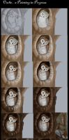 Owlie , a painting progression by harusame