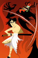 Samurai Jack vs Aku by StevenRayBrown