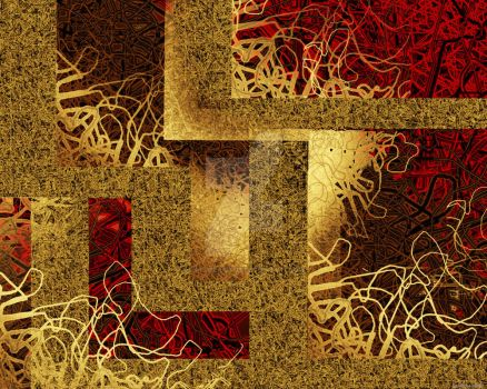 Red and Beige Abstract by HaloReach726