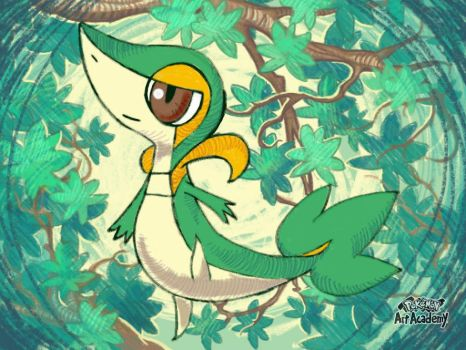 Snivy, made on Pokemon Art Academy by marianne41