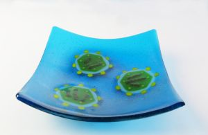 Bacteriophage phi6 Fused Glass Dish 4 by trilobiteglassworks