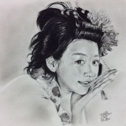 Pencil sketch of Japanese actress Nounen Rena by chaseroflight
