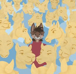 Cat in a Sea of Camels by Poppyshadow