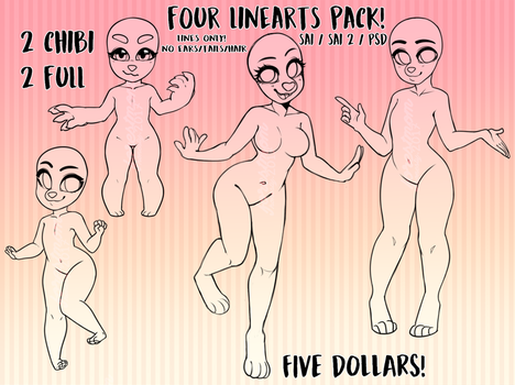Pack of 4 lineart bases : $5 | 500 points by tofupeachy