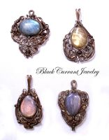 Four Colours of Labradorite by blackcurrantjewelry
