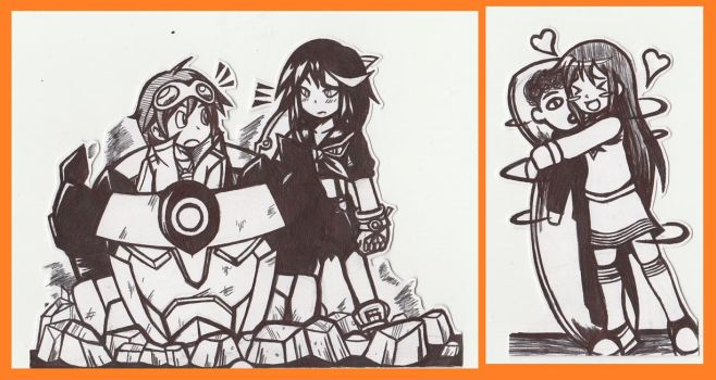 Flashcard Stand Set - Gurren Lagann and Love Lab by AnotherRandomMegaMan