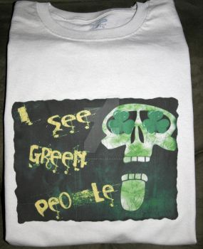Goth Skull St. Patty's Off White T by ReneeRutherford
