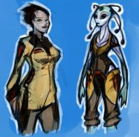 Female Scifi Character Doodles by RougeSpark