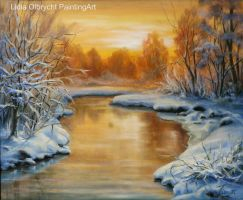 Winter landscape - sunset by Lidmar