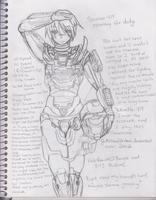Y19 Armor Sketch - Reporting for Duty by YuKitsuneYoukai
