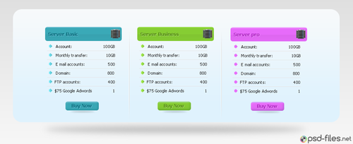Hosting Pricing Table PSD UI Element by psd-files-net