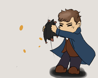 Newt and his Niffler by ThienDu