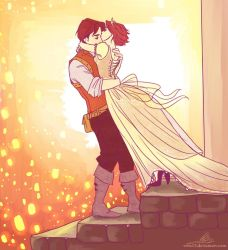 Eugene and Rapunzel by viria13