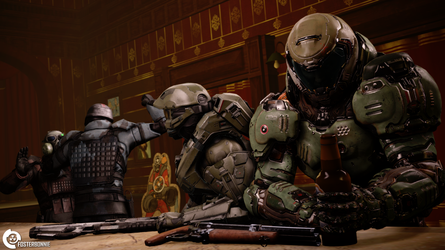 Space Marines in the Bar by FosterBonnie