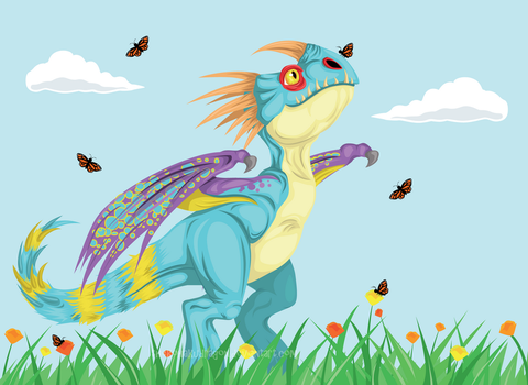HTTYD Stormfly and Butterflies by TheKohakuDragon