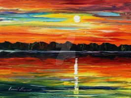 Sunset reflection by Leonid Afremov by Leonidafremov