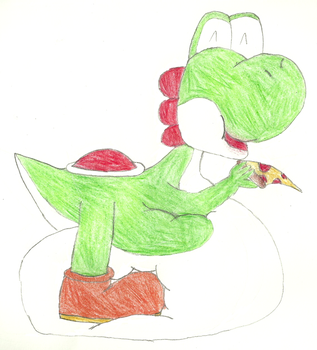 Yoshi Eating Pizza by BiggestYoshifan