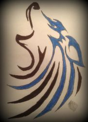 Tribal Art | Wolf | Colored by TKHusark