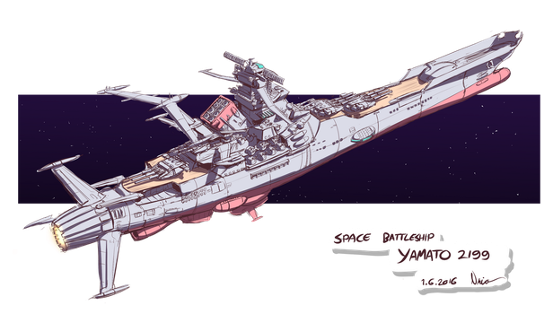 Space Battleship YAMATO 2199 rough sketch by Nsio