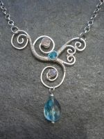 Asymmetrical Wire Wrapped Pendant by ChloeLB