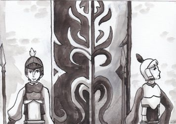 Inktober#13 'Guarded' by Skallhati
